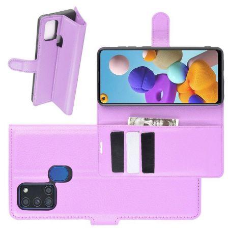 Боковая Чехол Книжка Кошелек с Футляром для Карт и Застежкой Магнитом для Samsung Galaxy A21s Фиолетовый