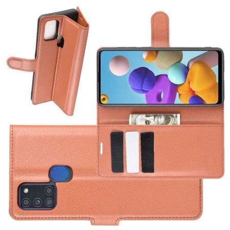 Боковая Чехол Книжка Кошелек с Футляром для Карт и Застежкой Магнитом для Samsung Galaxy A21s Коричневый