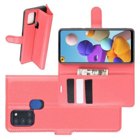 Боковая Чехол Книжка Кошелек с Футляром для Карт и Застежкой Магнитом для Samsung Galaxy A21s Красный