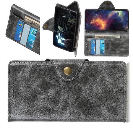 Боковая Чехол Книжка Кошелек с Футляром для Карт и Застежкой Магнитом для Samsung Galaxy A30 / A20 Серый