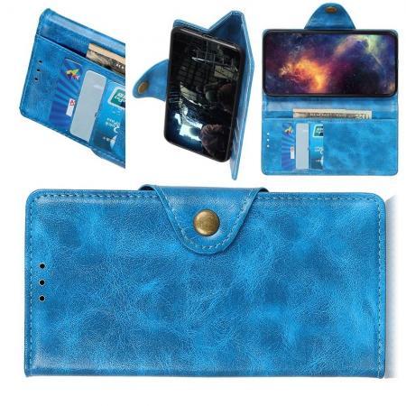 Боковая Чехол Книжка Кошелек с Футляром для Карт и Застежкой Магнитом для Samsung Galaxy A30 / A20 Голубой