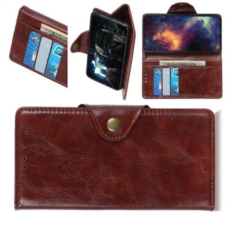Боковая Чехол Книжка Кошелек с Футляром для Карт и Застежкой Магнитом для Samsung Galaxy A30 / A20 Коричневый