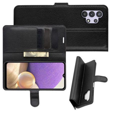 Боковая Чехол Книжка Кошелек с Футляром для Карт и Застежкой Магнитом для Samsung Galaxy A32 Черный