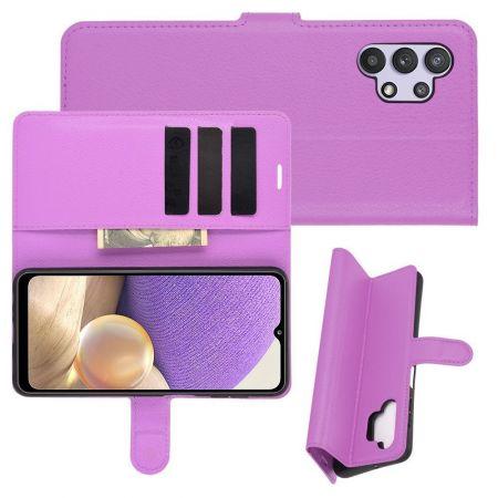Боковая Чехол Книжка Кошелек с Футляром для Карт и Застежкой Магнитом для Samsung Galaxy A32 Фиолетовый