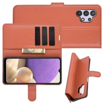 Боковая Чехол Книжка Кошелек с Футляром для Карт и Застежкой Магнитом для Samsung Galaxy A32 Коричневый