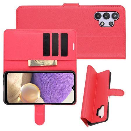 Боковая Чехол Книжка Кошелек с Футляром для Карт и Застежкой Магнитом для Samsung Galaxy A32 Красный