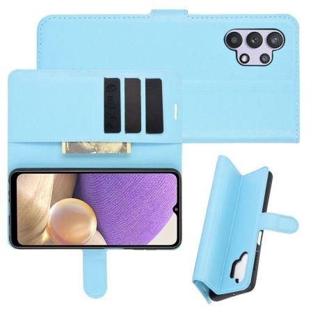 Боковая Чехол Книжка Кошелек с Футляром для Карт и Застежкой Магнитом для Samsung Galaxy A32 Синий