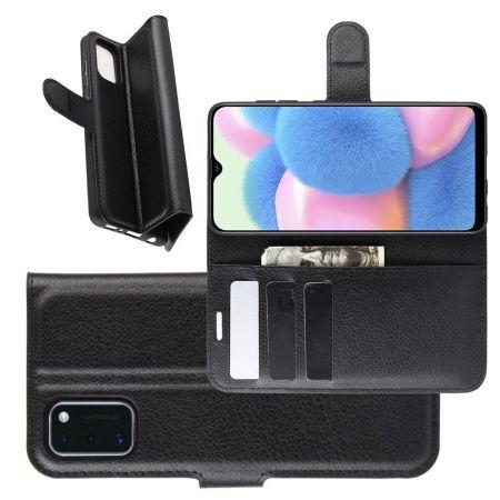 Боковая Чехол Книжка Кошелек с Футляром для Карт и Застежкой Магнитом для Samsung Galaxy A41 Черный