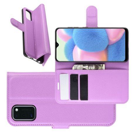 Боковая Чехол Книжка Кошелек с Футляром для Карт и Застежкой Магнитом для Samsung Galaxy A41 Фиолетовый