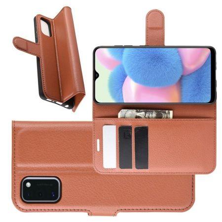 Боковая Чехол Книжка Кошелек с Футляром для Карт и Застежкой Магнитом для Samsung Galaxy A41 Коричневый