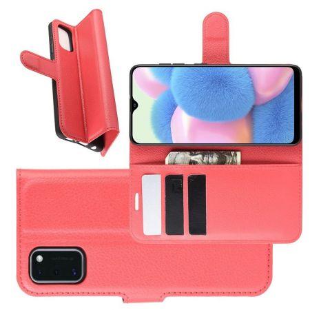 Боковая Чехол Книжка Кошелек с Футляром для Карт и Застежкой Магнитом для Samsung Galaxy A41 Красный