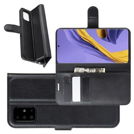 Боковая Чехол Книжка Кошелек с Футляром для Карт и Застежкой Магнитом для Samsung Galaxy A51 Черный