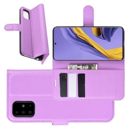 Боковая Чехол Книжка Кошелек с Футляром для Карт и Застежкой Магнитом для Samsung Galaxy A51 Фиолетовый