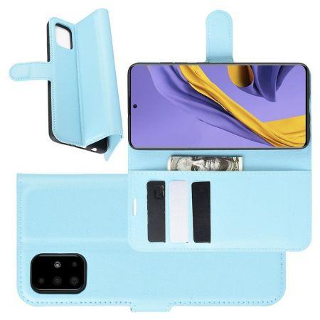 Боковая Чехол Книжка Кошелек с Футляром для Карт и Застежкой Магнитом для Samsung Galaxy A51 Голубой