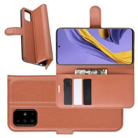 Боковая Чехол Книжка Кошелек с Футляром для Карт и Застежкой Магнитом для Samsung Galaxy A51 Коричневый
