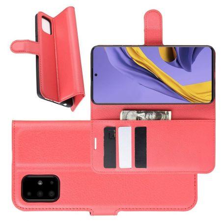 Боковая Чехол Книжка Кошелек с Футляром для Карт и Застежкой Магнитом для Samsung Galaxy A51 Красный