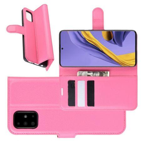 Боковая Чехол Книжка Кошелек с Футляром для Карт и Застежкой Магнитом для Samsung Galaxy A51 Розовый