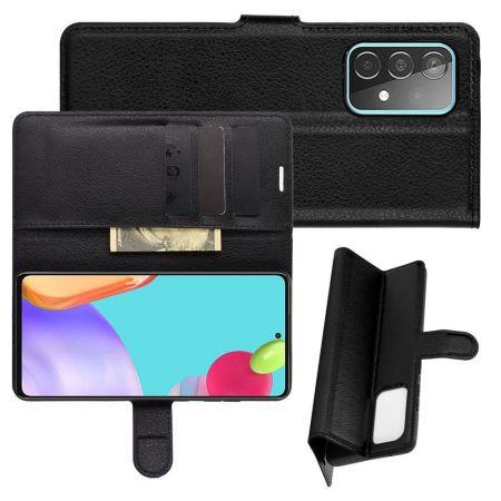 Боковая Чехол Книжка Кошелек с Футляром для Карт и Застежкой Магнитом для Samsung Galaxy A52 Черный