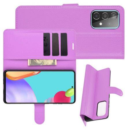 Боковая Чехол Книжка Кошелек с Футляром для Карт и Застежкой Магнитом для Samsung Galaxy A52 Фиолетовый