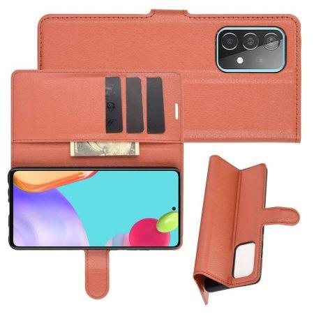 Боковая Чехол Книжка Кошелек с Футляром для Карт и Застежкой Магнитом для Samsung Galaxy A52 Коричневый