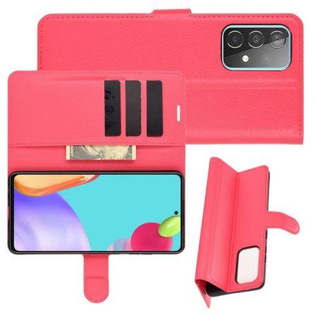 Боковая Чехол Книжка Кошелек с Футляром для Карт и Застежкой Магнитом для Samsung Galaxy A52 Красный
