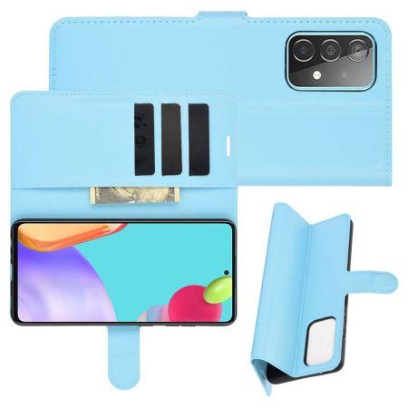 Боковая Чехол Книжка Кошелек с Футляром для Карт и Застежкой Магнитом для Samsung Galaxy A52 Синий