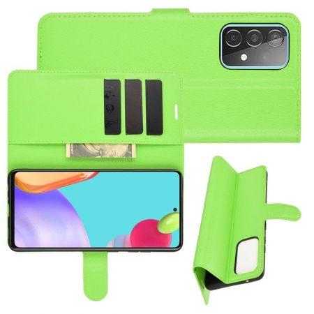 Боковая Чехол Книжка Кошелек с Футляром для Карт и Застежкой Магнитом для Samsung Galaxy A52 Зеленый