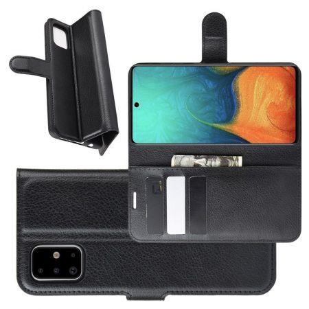 Боковая Чехол Книжка Кошелек с Футляром для Карт и Застежкой Магнитом для Samsung Galaxy A71 Черный