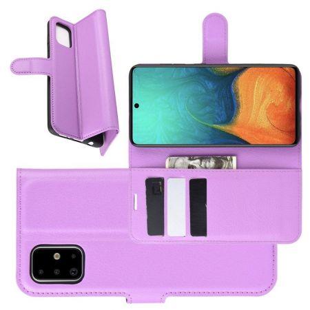 Боковая Чехол Книжка Кошелек с Футляром для Карт и Застежкой Магнитом для Samsung Galaxy A71 Фиолетовый