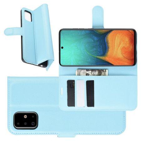 Боковая Чехол Книжка Кошелек с Футляром для Карт и Застежкой Магнитом для Samsung Galaxy A71 Голубой