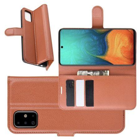 Боковая Чехол Книжка Кошелек с Футляром для Карт и Застежкой Магнитом для Samsung Galaxy A71 Коричневый