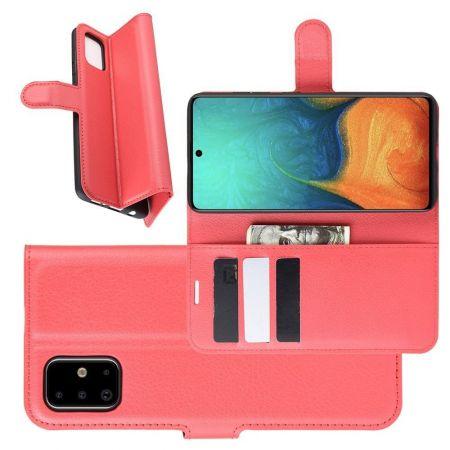 Боковая Чехол Книжка Кошелек с Футляром для Карт и Застежкой Магнитом для Samsung Galaxy A71 Красный