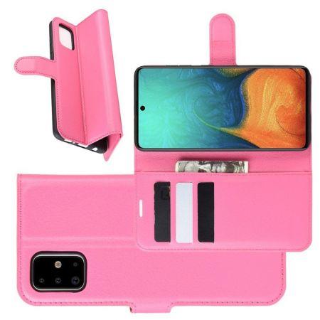 Боковая Чехол Книжка Кошелек с Футляром для Карт и Застежкой Магнитом для Samsung Galaxy A71 Розовый