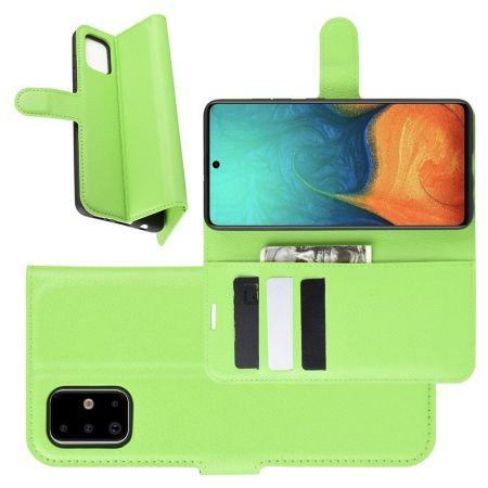 Боковая Чехол Книжка Кошелек с Футляром для Карт и Застежкой Магнитом для Samsung Galaxy A71 Зеленый