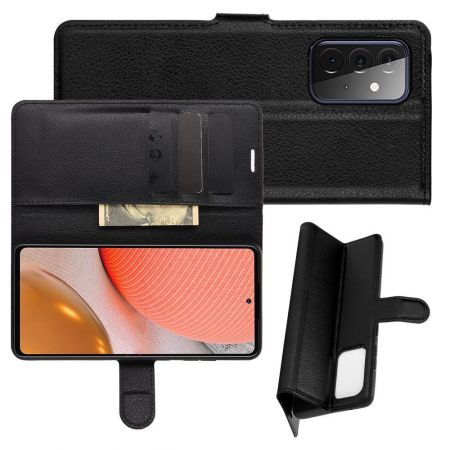 Боковая Чехол Книжка Кошелек с Футляром для Карт и Застежкой Магнитом для Samsung Galaxy A72 Черный