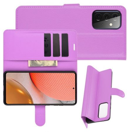 Боковая Чехол Книжка Кошелек с Футляром для Карт и Застежкой Магнитом для Samsung Galaxy A72 Фиолетовый