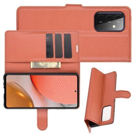 Боковая Чехол Книжка Кошелек с Футляром для Карт и Застежкой Магнитом для Samsung Galaxy A72 Коричневый