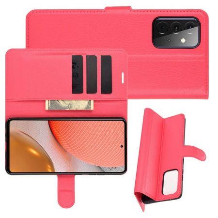 Боковая Чехол Книжка Кошелек с Футляром для Карт и Застежкой Магнитом для Samsung Galaxy A72 Красный