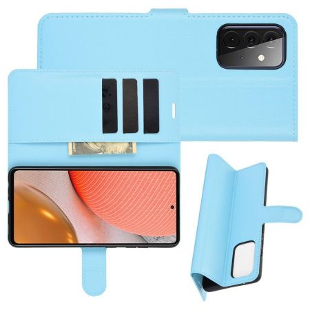 Боковая Чехол Книжка Кошелек с Футляром для Карт и Застежкой Магнитом для Samsung Galaxy A72 Синий