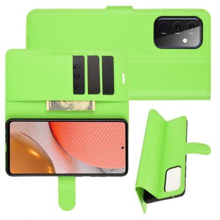 Боковая Чехол Книжка Кошелек с Футляром для Карт и Застежкой Магнитом для Samsung Galaxy A72 Зеленый