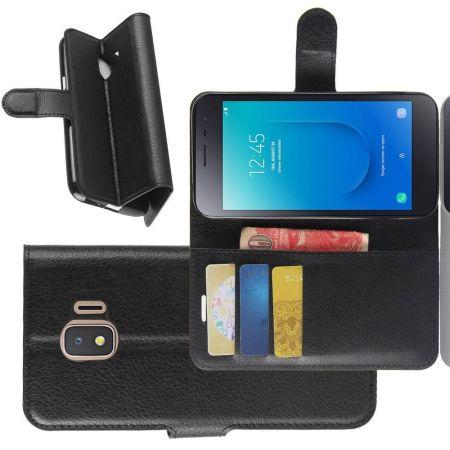 Боковая Чехол Книжка Кошелек с Футляром для Карт и Застежкой Магнитом для Samsung Galaxy J2 Core (2020) Черный
