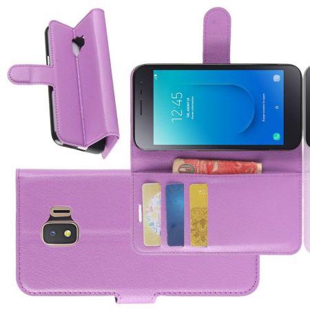 Боковая Чехол Книжка Кошелек с Футляром для Карт и Застежкой Магнитом для Samsung Galaxy J2 Core (2020) Фиолетовый