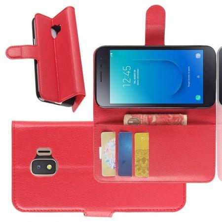 Боковая Чехол Книжка Кошелек с Футляром для Карт и Застежкой Магнитом для Samsung Galaxy J2 Core (2020) Красный