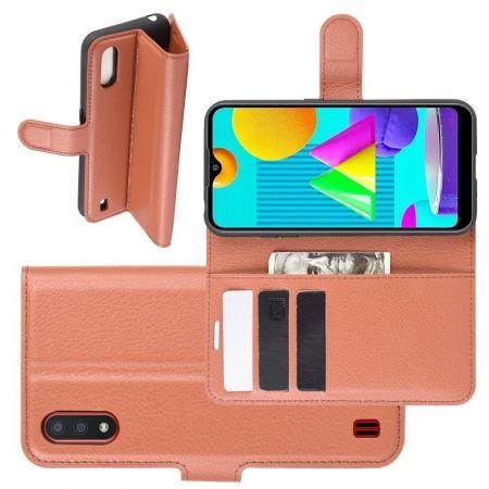 Боковая Чехол Книжка Кошелек с Футляром для Карт и Застежкой Магнитом для Samsung Galaxy M01 Коричневый
