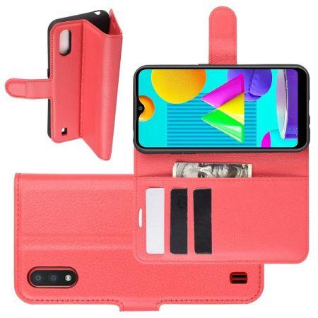 Боковая Чехол Книжка Кошелек с Футляром для Карт и Застежкой Магнитом для Samsung Galaxy M01 Красный