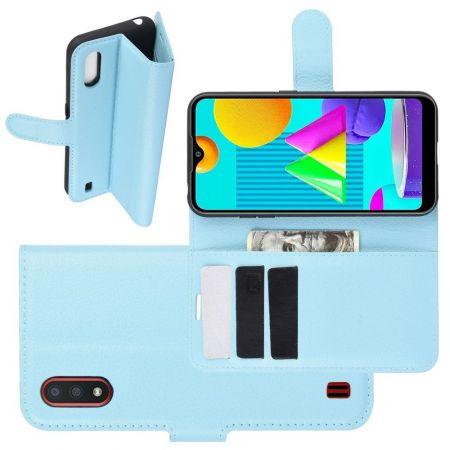 Боковая Чехол Книжка Кошелек с Футляром для Карт и Застежкой Магнитом для Samsung Galaxy M01 Синий
