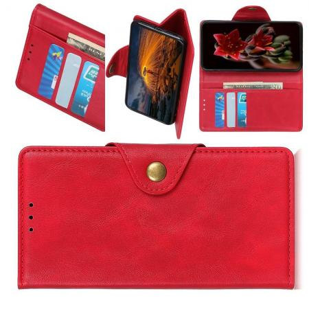 Боковая Чехол Книжка Кошелек с Футляром для Карт и Застежкой Магнитом для Samsung Galaxy M30s Красный