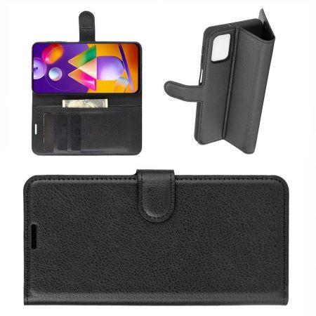 Боковая Чехол Книжка Кошелек с Футляром для Карт и Застежкой Магнитом для Samsung Galaxy M31s Черный