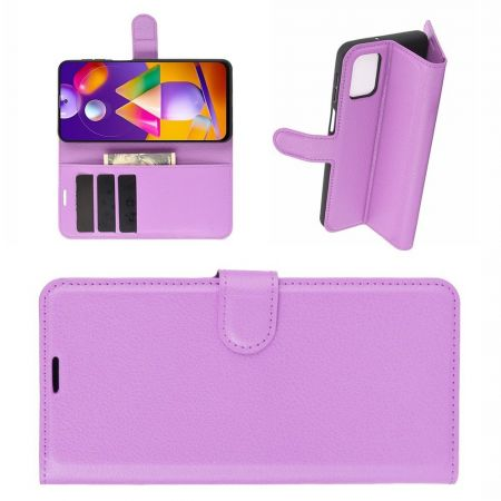 Боковая Чехол Книжка Кошелек с Футляром для Карт и Застежкой Магнитом для Samsung Galaxy M31s Фиолетовый