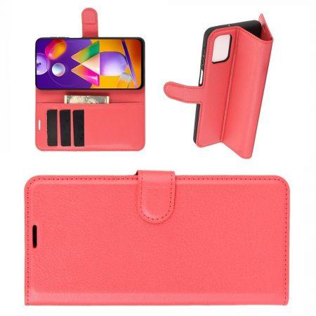 Боковая Чехол Книжка Кошелек с Футляром для Карт и Застежкой Магнитом для Samsung Galaxy M31s Красный